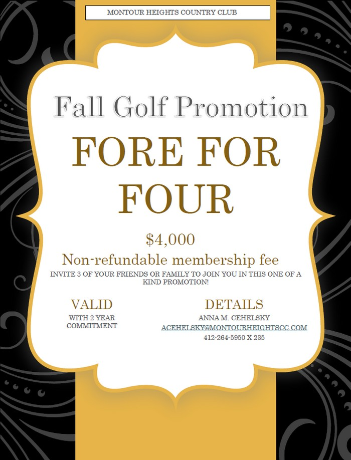 MHCC Fall Golf Membership Promotion